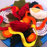 Felt Dinner Salad Play Food Waldorf Inspired Hand by PetitsCadeaux