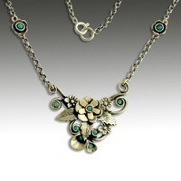 Sterling silver mixed gold and opals necklace Be by artisanimpact