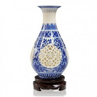 Blue and White Hollow Art Vase [UF-PV083] - $73.00 : Buy Unique Craft Gifts From Best Online Shop, Ufingo