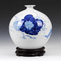 Hand Painted Underglaze Lotus Fish Vase [UF-PV078] - $70.00 : Buy Unique Craft Gifts From Best Online Shop, Ufingo