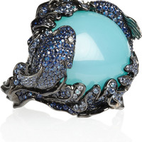 Lydia Courteille | Battling Fish 18-karat blackened white gold multistone ring | NET-A-PORTER.COM