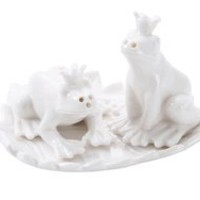 Frogs on a Leaf Salt & Pepper Set by Creative Co-Op