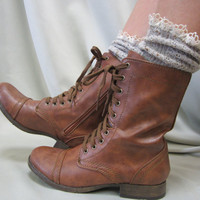 Miss Tori  lace slouch socks tweed OATMEAL  for combat, clogs or cowboy boots by Catherine Cole Studio slouch  socks MADE IN U S A (SLX204L)
