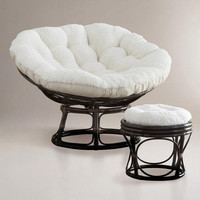 Ivory Faux Fur Papasan Cushion - World Market
