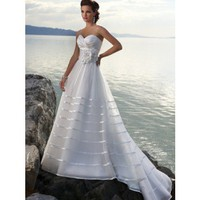 Sweetheart Straples Sweep Train Satin organza Beach Wedding Dress  - Beach Wedding Dresses - Wedding Dresses - Wedding  Events