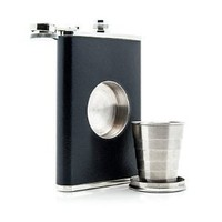 The Original Shot Flask - 8oz Hip Flask with a Built-in Collapsible Shot Glass - Stainless Steel with Premium Bonded Leather Wrapping