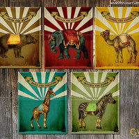 Circus Animals VIntage Set Prints 11x14  Nursery Decor  by evivart