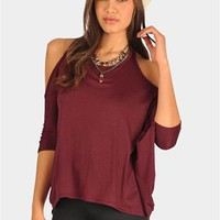 Brink Open Shoulder Top - Burgundy