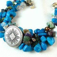 Turquoise Quartz Gemstone Nugget Beaded Weave Southwest Bracelet