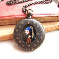 $48.00 FESTIVE SALE  Classic Painting Pendant pocketwatch by HidenSeek