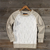 $46.00 Threadwork Lace Sweatshirt, Sweet Country Women's Clothing