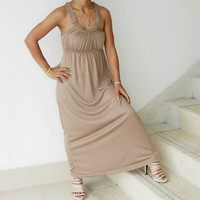 Long Chic Evening Maxi Dress Unique Neutral Color by thaisaket