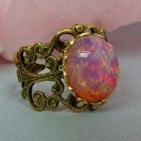 Free Shipping  Vintage Glass Ruby Fire Opal by pinkingedgedesigns