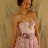 Flora Bustier Wedding or Formal Gown... Size XS/Small... Fairy Prom Tea Party Dress Rococo Pink Eco Friendly Recycled Alternative