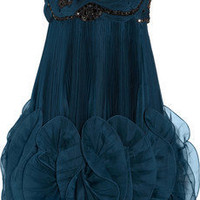 Marchesa Pleated silk-organza dress - 55% Off Now at THE OUTNET