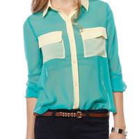Papaya Clothing Online :: TWO POCKETS COLORBLOCKED SHEER BLOUSE