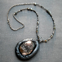 Stone Pendant Necklace Titanium Druzy Geode and Polymer Clay