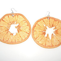 BIG Pink Grapefruit Earrings  Fruit Jewelry by realfruitjewelry