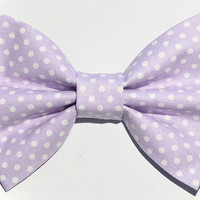 Lavender Polka Dot Hair Bow