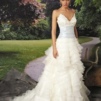 the Best Charming A-line Spaghetti Straps Floor-length Appliques Wedding Dress - Shop Online for Cheap Wedding Dresses