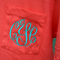 MONOGRAMMED Pocket Tee  Short Sleeve  by embellishboutiquellc