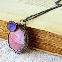 Copper Rhodonite enamel pendant Handmade by SilverLinesJewelry