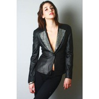 Rhinstone jeweled padded shoulder black blazer jacket