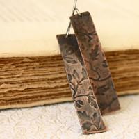 Floral Embossed long Copper earrings mixed by SilverLinesJewelry