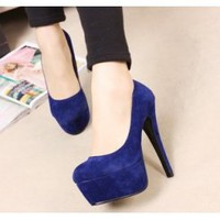 Wholesale Fashion pumps with shallow mouth thin heel shoes XD-FD980-2 blue - Lovely Fashion