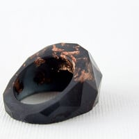 black and copper flake multifaceted eco resin ring by RosellaResin