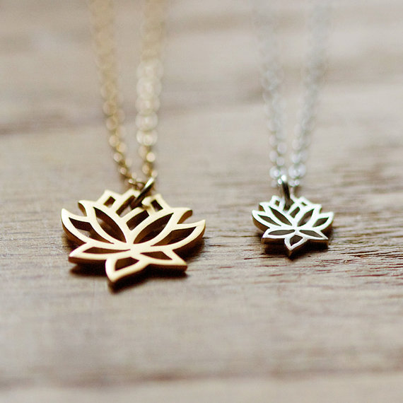 two loves silver and gold lotus necklace set by by elephantine