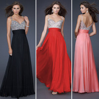 Sexy BEADED Chiffon Long Formal Prom Party Ball Cocktail Evening Dress size 2-8