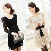 Sexy Lady&#x27;s Long Sleeve Lace Leopar Black White Formal Party Dress Evening Dress