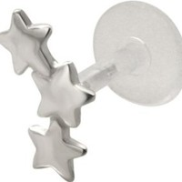 Falling Stars - 925 Sterling Silver & Bioplast Tragus Earring or Labret Lip Ring: Jewelry: Amazon.com