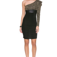 Foreign Exchange :: NEW ARRIVALS :: GOLD LEOPARD ONE SHOULDER RUNCHED DRESS