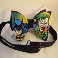 Pre tied Adjustable bow tie made with Batman/Joker fabric
