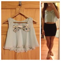 Chiffon Cropped Top w/ Bow