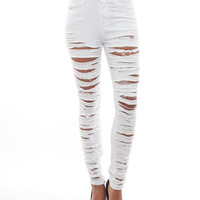 Foreign Exchange :: NEW ARRIVALS :: WHITE DESTROYED SKINNY JEANS