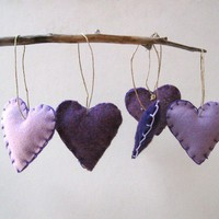 amethyst heart felts ornaments set of 5 / eco by SewnNatural