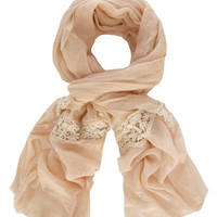 Nude lace panel scarf