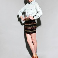 Metallic stripe skirt [Wow3529] - &amp;#36;62 : Pixie Market, Fashion-Super-Market