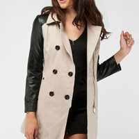 Contrast Sleeve Trench Coat in Khaki :: tobi