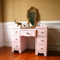 Pink Vintage Vanity Desk Bohemian Chic Boudoir by RhapsodyAttic