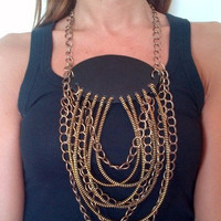 Leather, metal zips and chains necklace. FREE SHIPPING