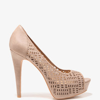 Perforated Peep Toe Pumps