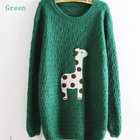 Giraffe patch pattern loose sweater  zzs0020