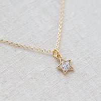 Tiny Rhinestone Star Necklace In Go.. on Luulla