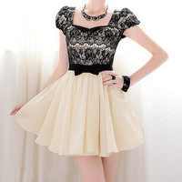 new office lady elegant Cap Sleeve Black Lace Bow mini dress S M L