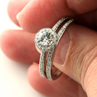 14K White Sapphire and Diamond Ring Halo Setting by RareEarth