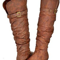 Amazon.com: Blossom Firenze-9 Cognac Women Over The Knee Boots: Shoes